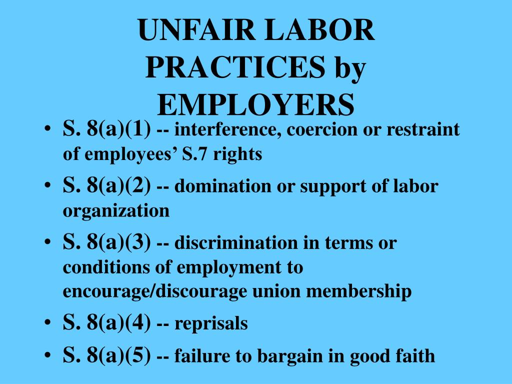 UNFAIR LABOR PRACTICES by EMPLOYERS