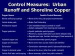 control measures urban runoff and shoreline copper