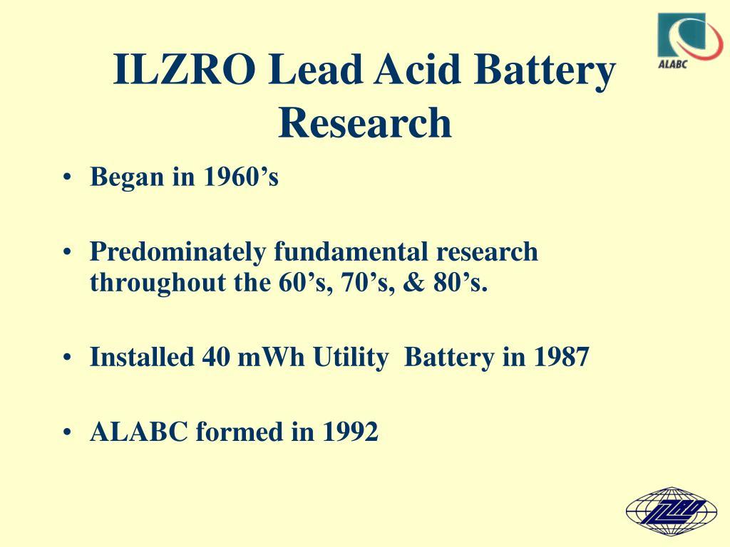 ILZRO Lead Acid Battery Research