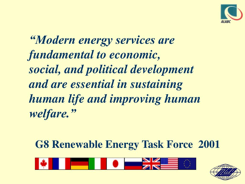 """""""Modern energy services are fundamental to economic,"""