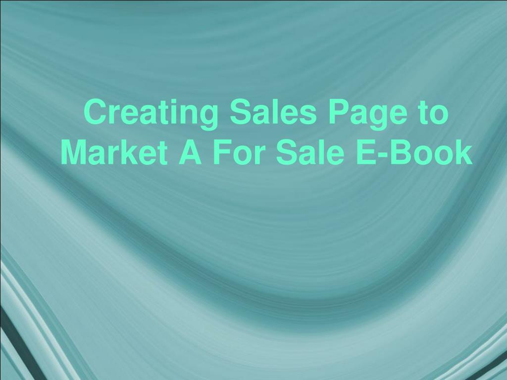creating sales page to market a for sale e book l.