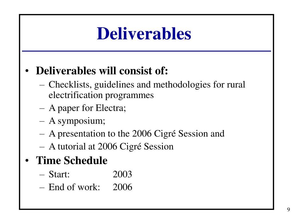 Deliverables