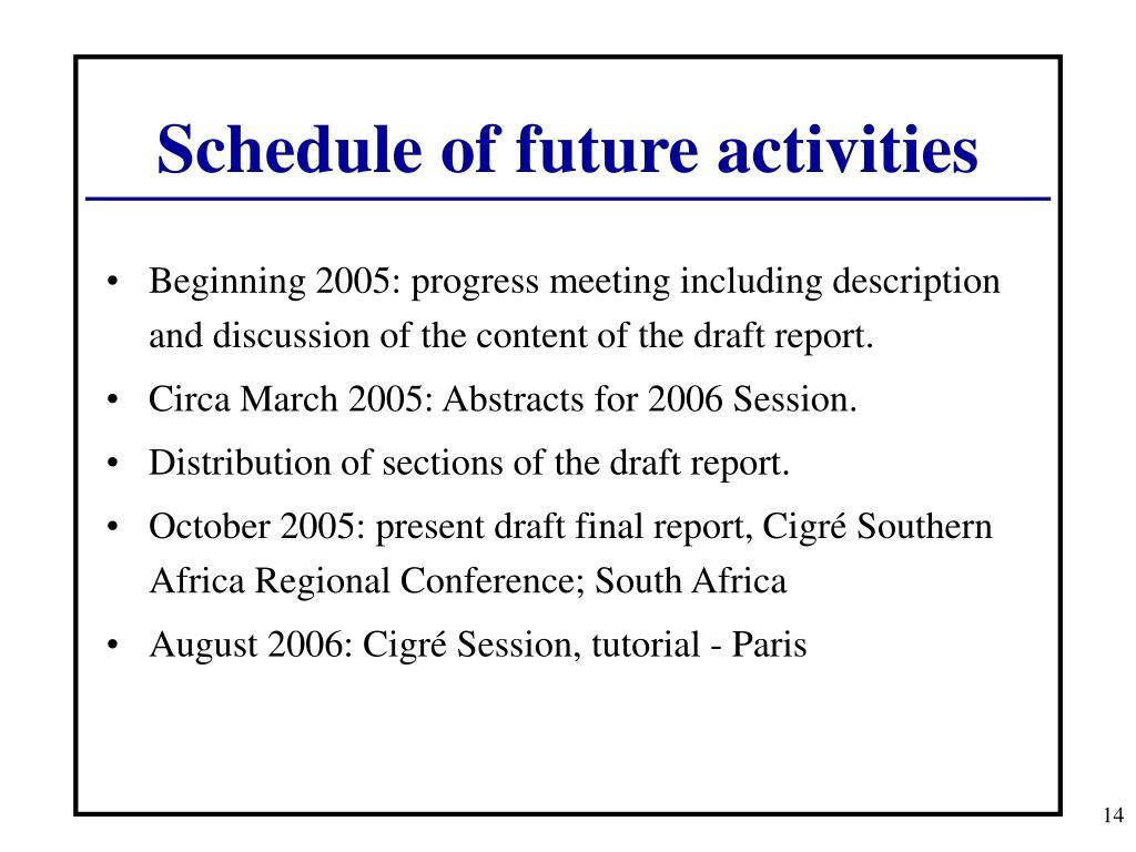 Schedule of future activities