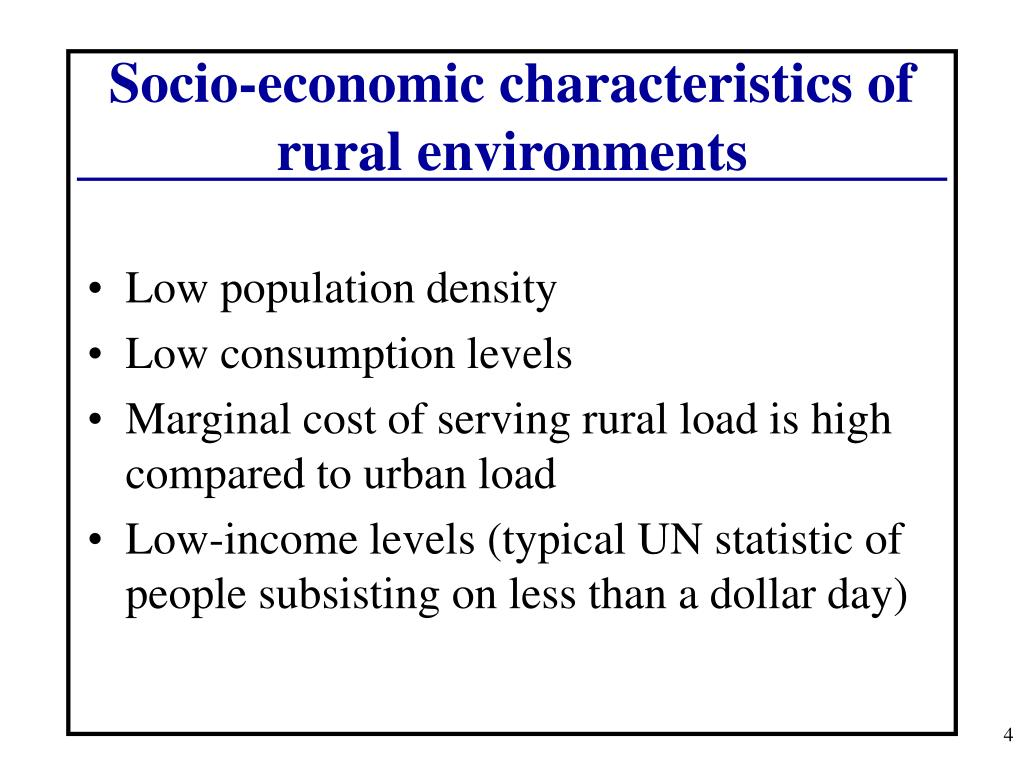 Socio-economic characteristics of