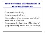 socio economic characteristics of rural environments