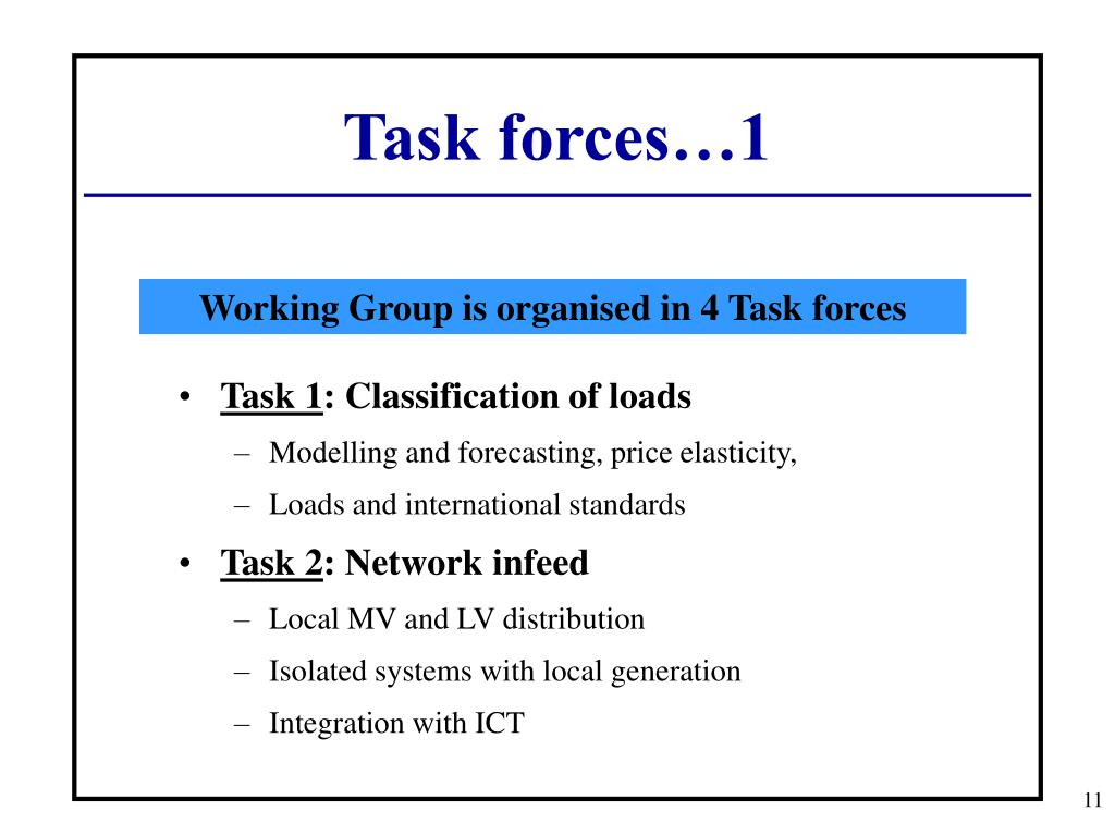 Task forces…1