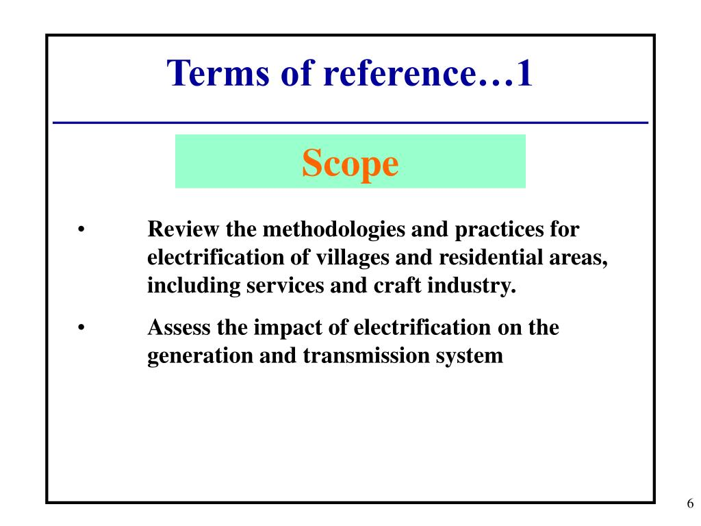 Terms of reference…1