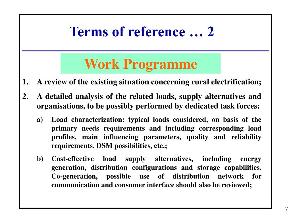 Terms of reference … 2