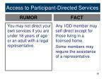 access to participant directed services1
