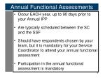 annual functional assessments