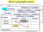 berry s geographic matrix