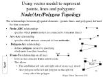 using vector model to represent points lines and polygons node arc polygon topology
