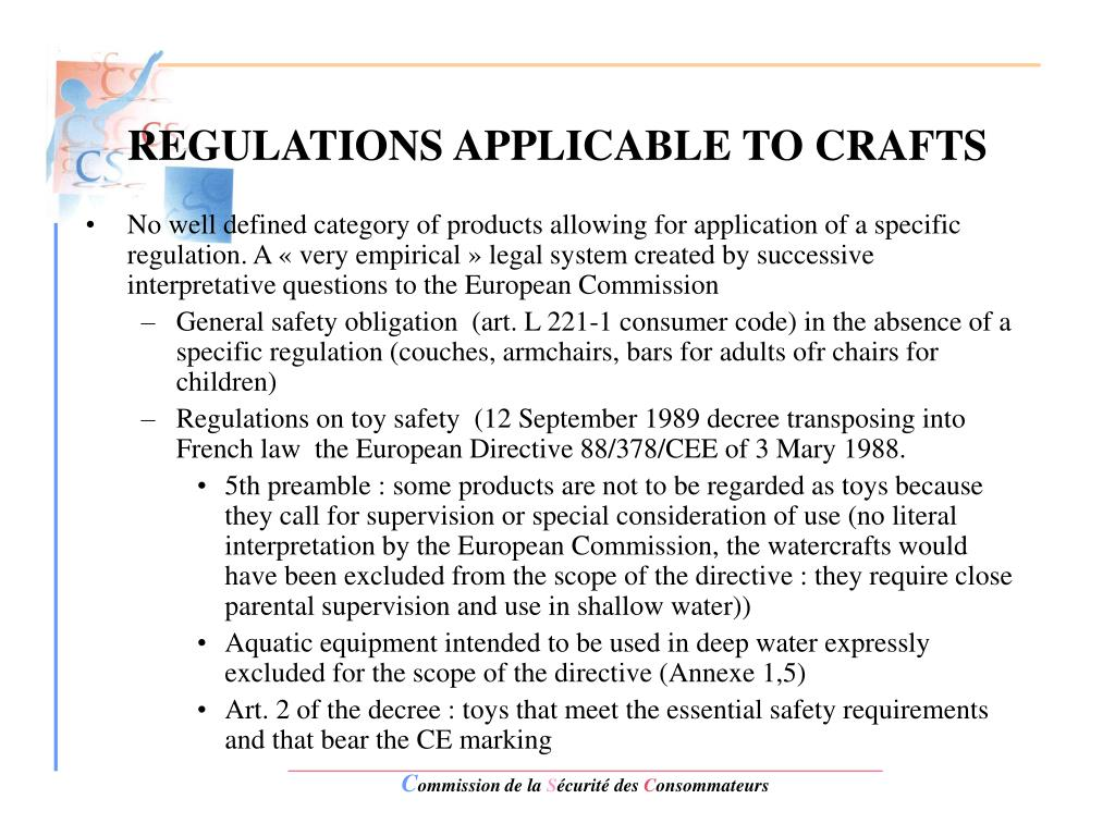 REGULATIONS APPLICABLE TO CRAFTS