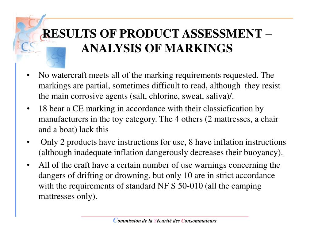 RESULTS OF PRODUCT ASSESSMENT – ANALYSIS OF MARKINGS