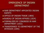 emergence of indian department