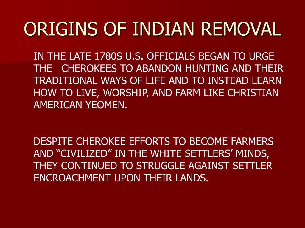 origins of indian removal l.