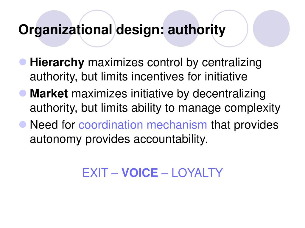Organizational design: authority