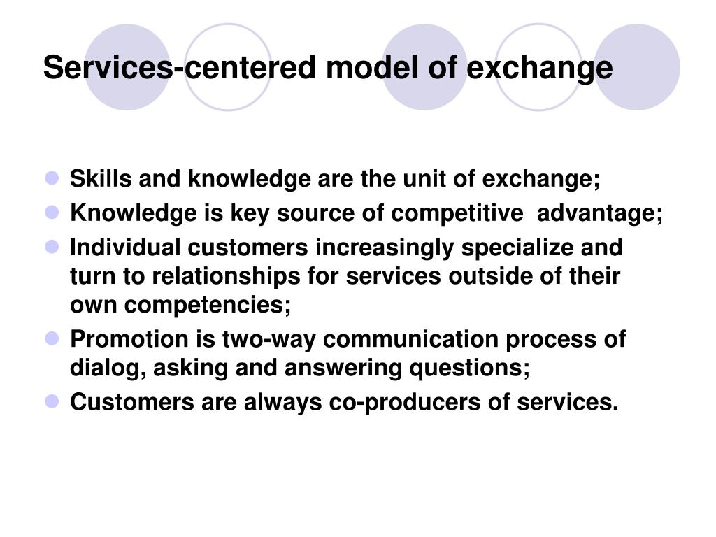 Services-centered model of exchange