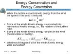energy conservation and energy conversion