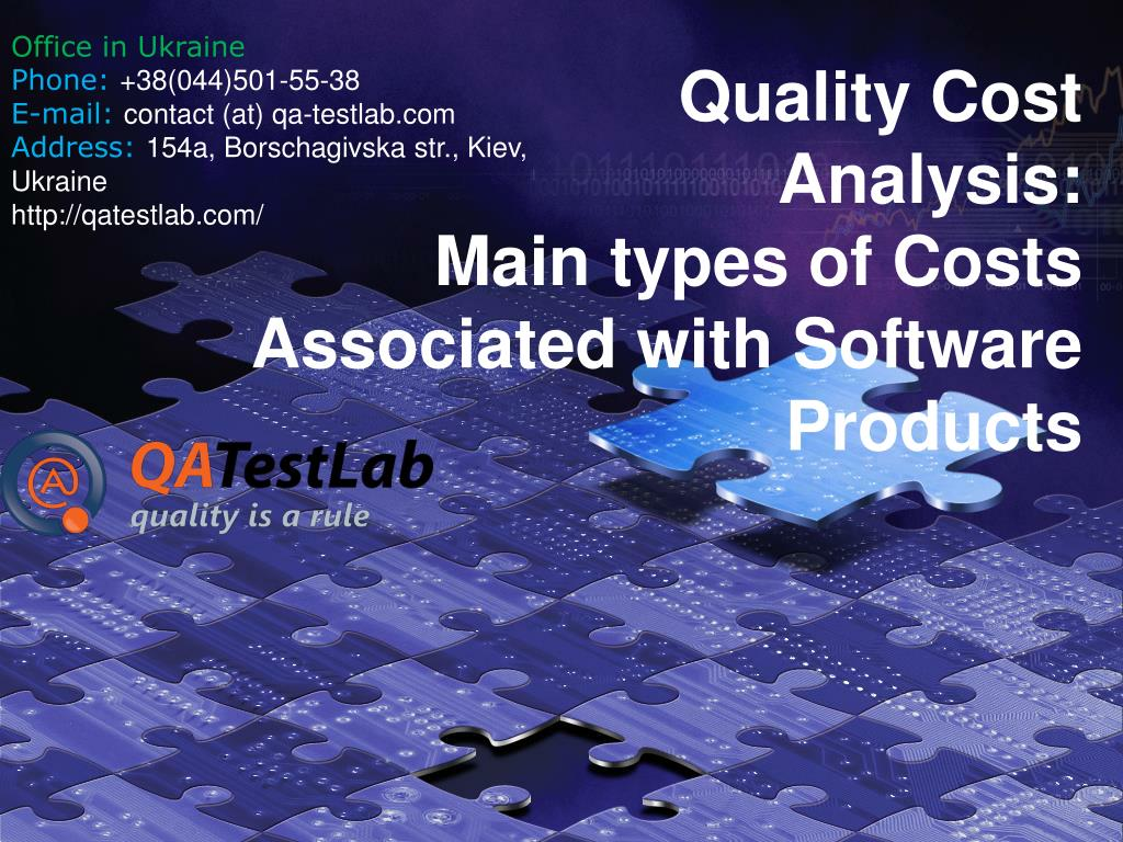 quality cost analysis main types of costs associated with software products l.