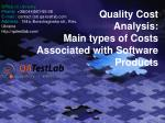 quality cost analysis main types of costs associated with software products