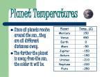 planet temperatures