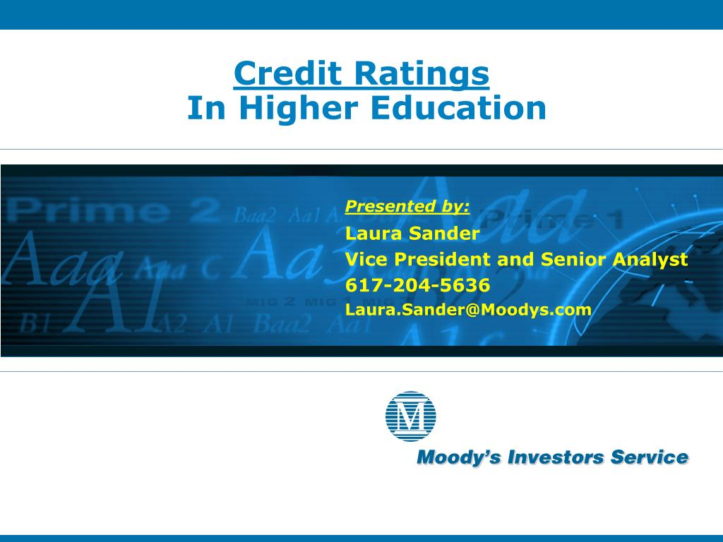 credit ratings in higher education l.