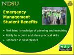 emergency management student benefits