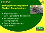 emergency management student opportunities