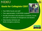 goals for collegiate cert