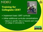 training for collegiate cert