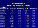 parameters for the hch and pbde