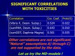 significant correlations with toxicities