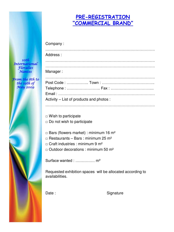 pre registration commercial brand l.
