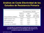 an lisis de coste efectividad de los estudios de resistencia primaria