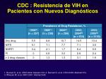 cdc resistencia de vih en pacientes con nuevos diagn sticos