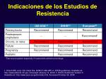 indicaciones de los estudios de resistencia33