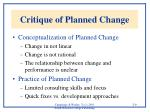 critique of planned change