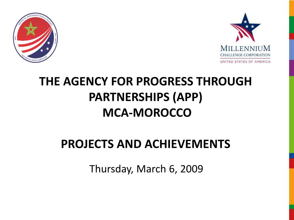 the agency for progress through partnerships app mca morocco projects and achievements l.