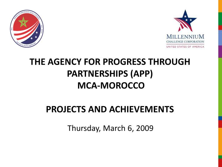 The agency for progress through partnerships app mca morocco projects and achievements