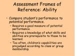 assessment frames of reference ability