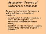assessment frames of reference standards