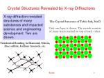 crystal structures revealed by x ray diffractions