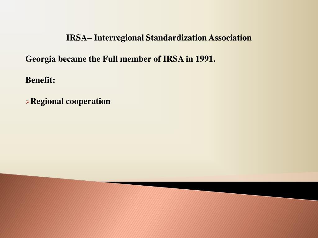 IRSA– Interregional Standardization Association