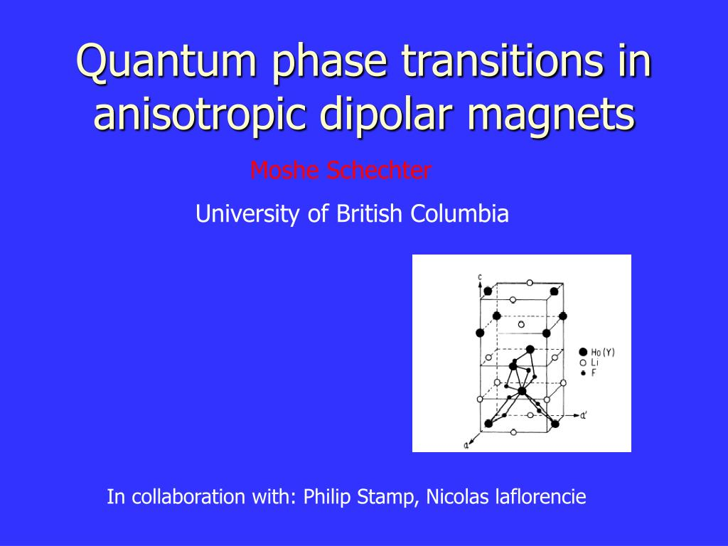 quantum phase transitions in anisotropic dipolar magnets l.