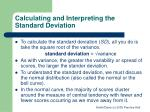 calculating and interpreting the standard deviation