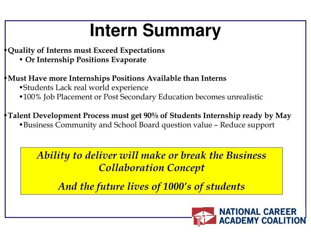Intern Summary