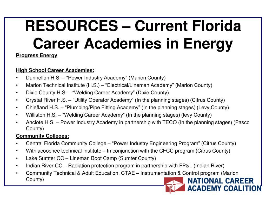 RESOURCES – Current Florida Career Academies in Energy