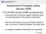assessment of hepatic safety january 2006