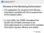 renewal of the marketing authorization